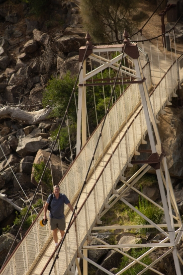 The Cataract Gorge Alexandra Suspension bridge on foot...